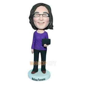 glasses woman in purple T-shirt handing a laptop custom bobblehead