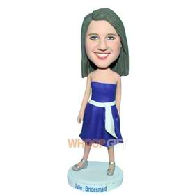 long hair bridesmaid in blue dress custom bobblehead