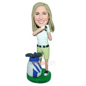 yellow hair golf player in white T-shirt matching with green shorts custom bobblehead