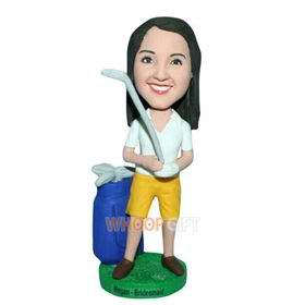 beautiful woman in white T-shirt matching with yellow shorts custom bobblehead