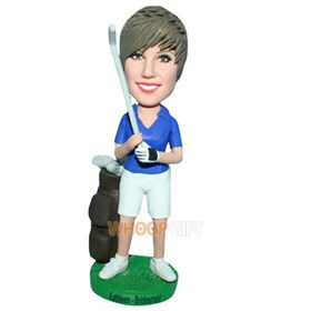 male golf player in blue T-shirt matching with white shorts bobblehead