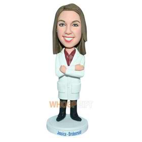 long hair female doctor in doctor's overall bobblehead