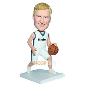 man in white sports wear playing basketball bobblehead