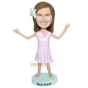 young girl in pink dress bobblehead