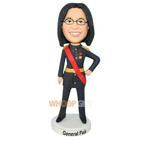 glasses waitress in black uniform bobblehead