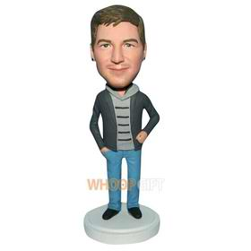 free man in grey coat matching with blue pants bobblehead