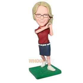 beautiful woman in red shirt matching with short skirt playing golf bobblehead