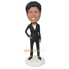 business office lady in black suit bobblehead