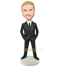 handsome groomsman in black suit bobblehead