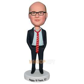 glasses man in black suit matching with red tie bobblehead