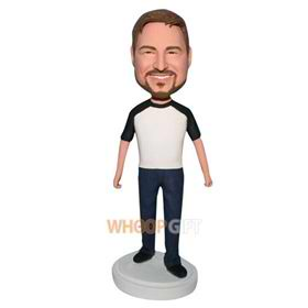 free man in white shirt matching with blue pants bobblehead