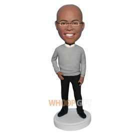 glasses man in grey sweater matching with black pants bobblehead