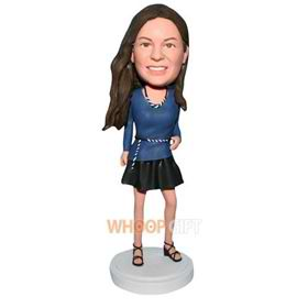 long hair beautiful woman in blue dress bobblehead