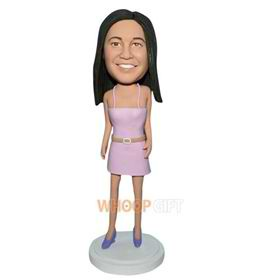 long hair woman in pink sexy dress bobblehead