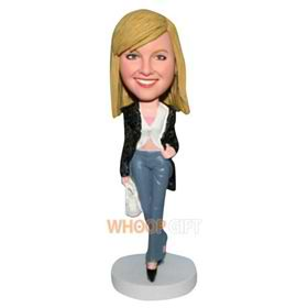 sexy lady in black coat bobblehead