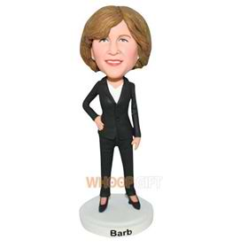 office lady in black suit bobblehead