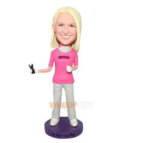 female doctor in rose shirt bobblehead