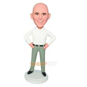 uncovered man in white T-shirt matching with green pants bobblehead