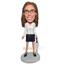 mordern woman in white coat handing with an umbrella bobblehead