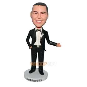 groomsman in black suit matching with bowknot tie bobblehead