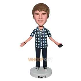 young boy in grid T-shirt bobblehead