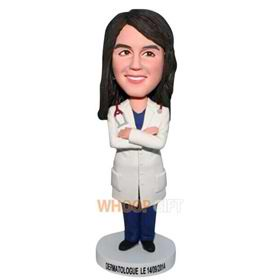 female doctor in doctor's overall bobblehead
