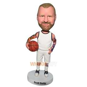 basketball player in white sports wear bobblehead