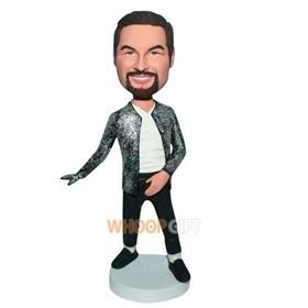 fashion man in black coat bobblehead