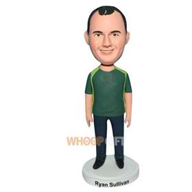 free man in green shirt bobblehead