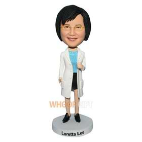 glasses woman in white coat bobblehead
