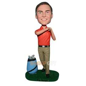 man in red shirt playing golf bobblehead