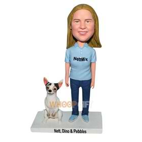 woman in blue shirt with her pet dog bobblehead