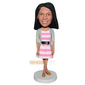 beautiful woman in pink dress bobblehead