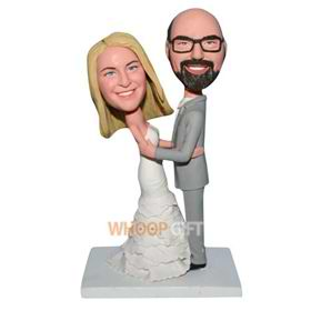 groom in grey suit and bride in white wedding dress bobblehead