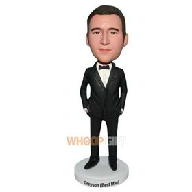 man in black suit matching with a bowknot tie bobblehead