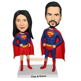 super groom and super bride bobblehead