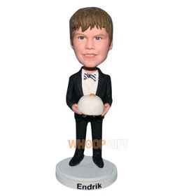 young boy in black suit bobblehead