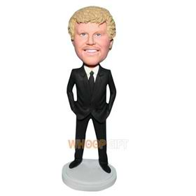 handsome man in black suit bobblehead