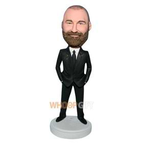 beard man in black suit bobblehead