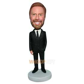 business man in black suit bobblehead