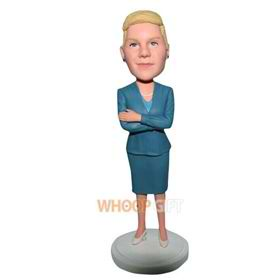 office lady in blue suit custom bobblehead