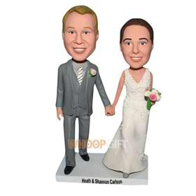 groom in grey suit and bride in white wedding dress custom bobblehead