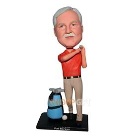 man in orange shirt playing golf custom bobblehead