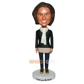 woman in black sweater matching a white scarf custom bobblehead