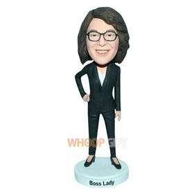 female boss in black suit custom bobblehead