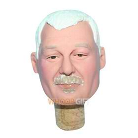 custom head wine on bottle stopper