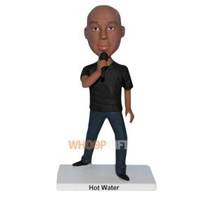 singing man in black shirt custom bobblehead