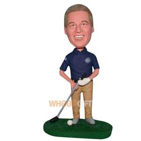 man in blue shirt playing golf custom bobblehead
