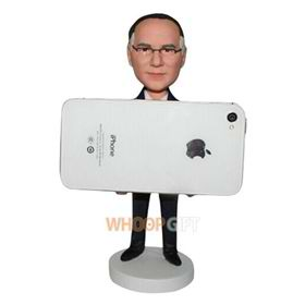 man in black suit custom holder iphone