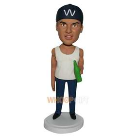 drinking muscle man in white vest custom bobblehead